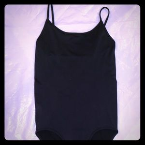Women's black body suit with 3 clasp at the bottom